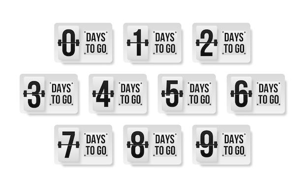 Количество дней до конца обратного отсчета шаблона. рекламный баннер с указанием количества дней до выпуска.
