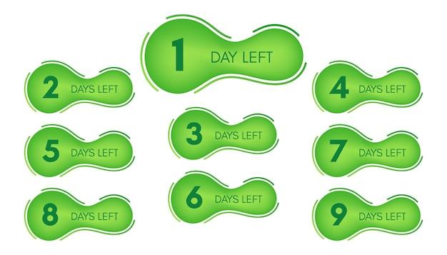 남은 일 수. 1에서 9까지 카운트다운이 있는 9개의 녹색 배너 세트입니다. 벡터 일러스트 레이 션
