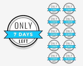 Number of days left sticker or label badge design