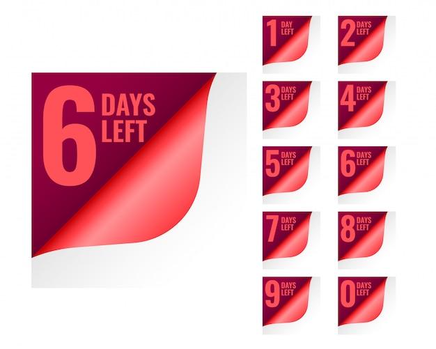 Количество оставшихся дней в стиле скручивания страниц