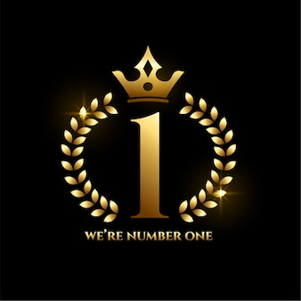 Number one achievement golden label with crown