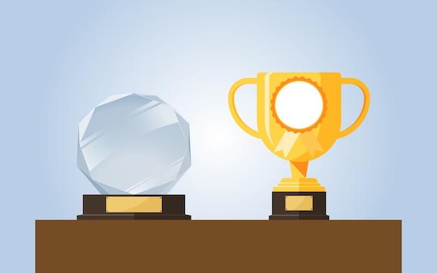 最優秀賞を受賞したゴールド&クリスタルトロフィー。