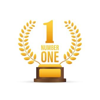 ゲームのナンバーワン。アワードリボンゴールドアイコン番号。コンテストの成果。勝者のバナー。ストックイラスト。