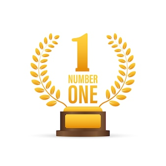 Number one for game . award ribbon gold icon number. contest achievement. winner banner.  stock illustration.