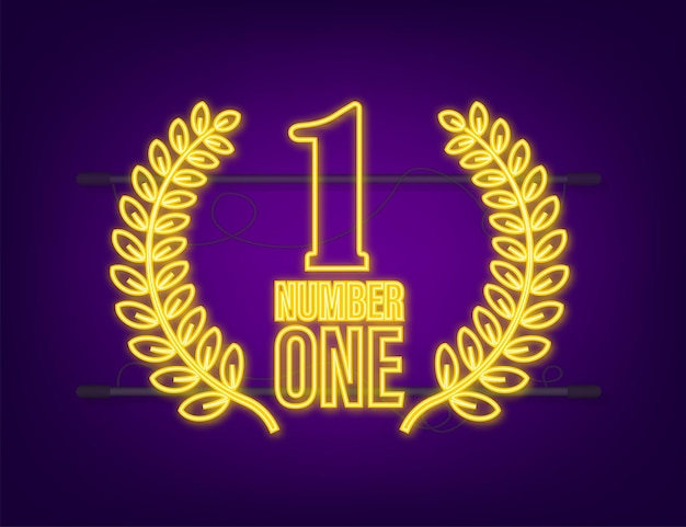 Number one for game design. award ribbon gold icon number. contest achievement. winner neon icon.