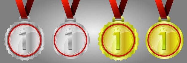 Number one gold medal, champion gold, silver and gold award medals with red ribbons