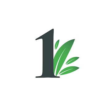 Number one logo with green leaves. natural number 1 logo with green leaf.