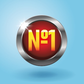 Number one red button on blue background, best choice icon. finest price badge,  illustration in realistic style