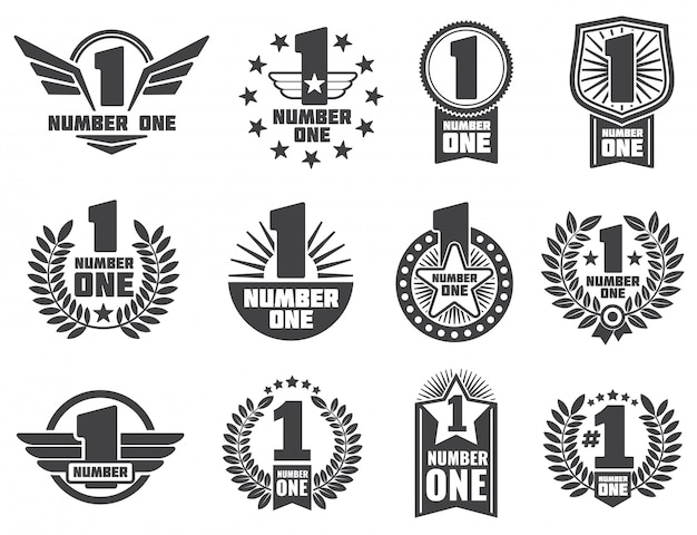 Number one retro corporate identity logo and labels