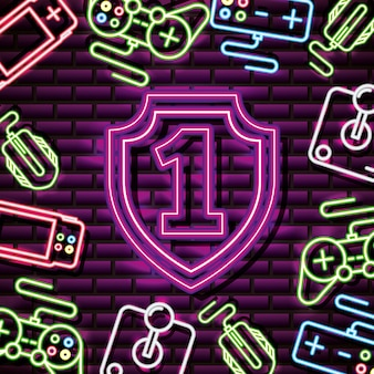 Number one and shield in neon style, video games related