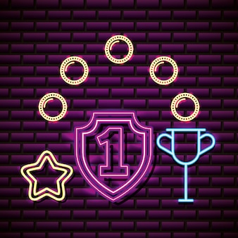 Number one shield, trophy and star in neon style, video games related
