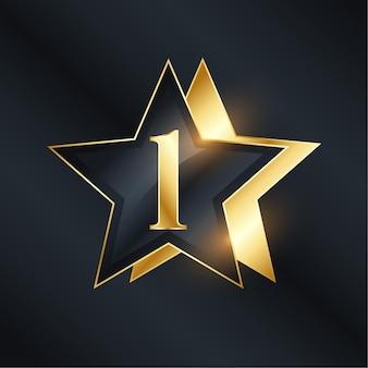Number one star label in golden color