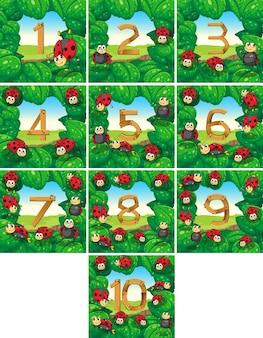 Numero da uno a dieci con illustrazione di sfondo coccinelle