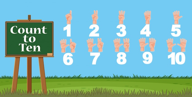空で数える指で1から10までの数