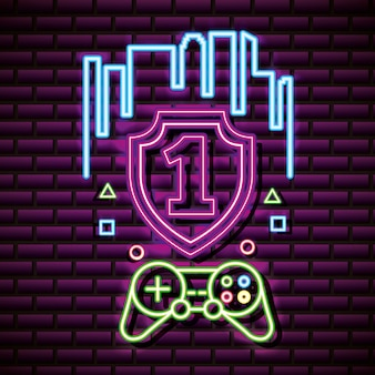 Number one and video game control, brick wall, neon style