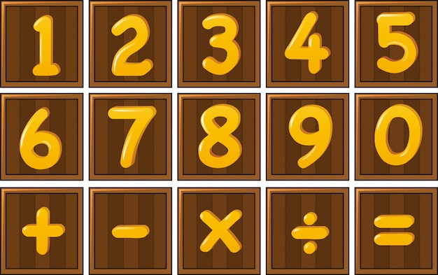 Number one to zero and math signs on wooden boards