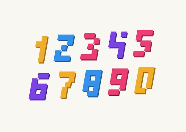 Number set 3d bold style modern typography for animation