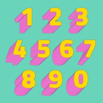 Set di numeri carattere tipografico stilizzato 3d