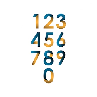 Number set vector template design illustration