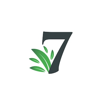 Number seven logo with green leaves. natural number 7 logo with green leaf.