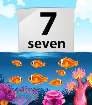 Number seven with seven fish swimming in the sea