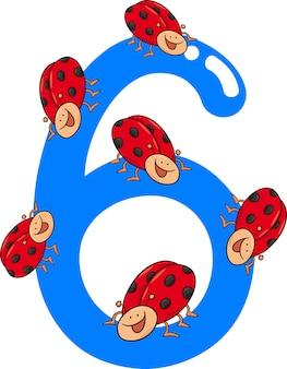 Номер шесть и 6 божьих коровок
