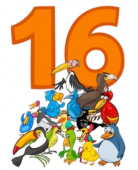 Number sixteen and cartoon birds group