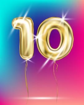 Номер десять золотой фольги воздушный шар на градиенте