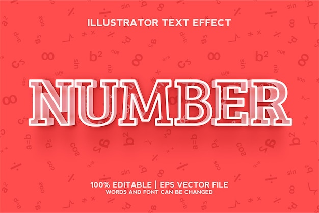 Number text effect template