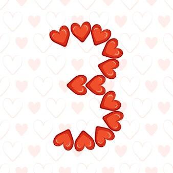 愛のシンボルのお祝いフォントまたはvalの装飾とシームレスなパターンの赤いハートから3番目...
