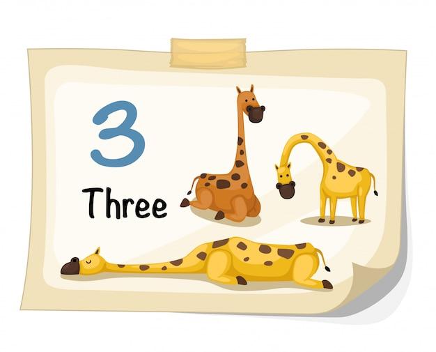 Number three giraffe vector