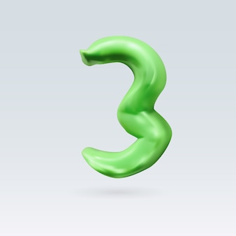 Number three green color isolated on background