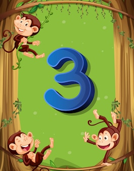 Number three with 3 monkeys on the tree