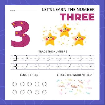 Numero tre foglio di lavoro per bambini