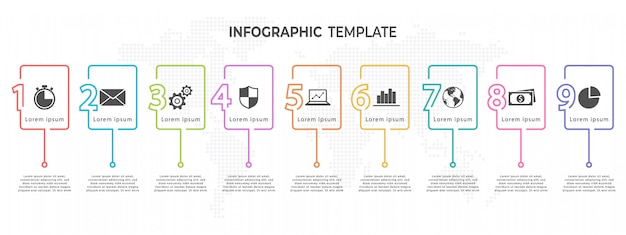 Number timeline infographic template 9 options.