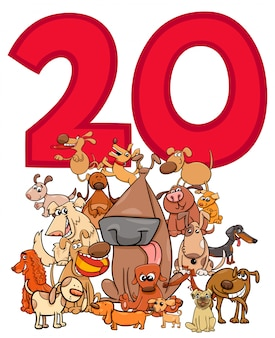 Number twenty and cartoon dogs group