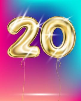 Number twenty gold foil balloon on gradient
