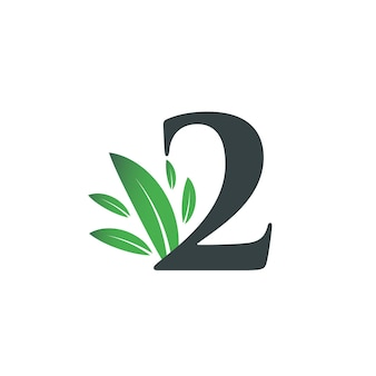Number two logo with green leaves. natural number 2 logo with green leaf.