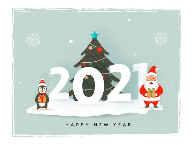 Number with decorative xmas tree, cartoon penguin and santa claus holding gift box on the occasion of happy new year.