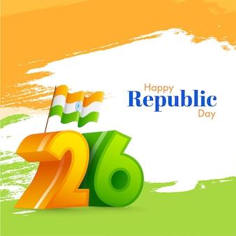 幸せな共和国の日のためのトリコロールブラシストロークの背景にインドの旗と番号。