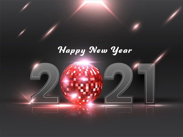 Number with red disco ball and lights effect on dark grey background for happy new year.