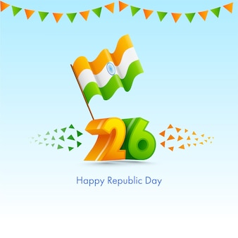 Number with wavy indian flag and bunting flags on blue background for happy republic day.
