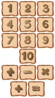 Number on wooden board