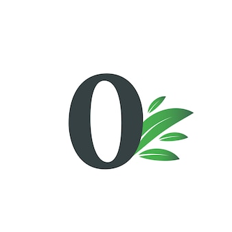 Number zero logo with green leaves. natural number 0 logo with green leaf.