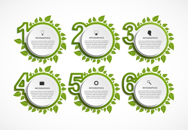 Numbered infographic with green leaves.