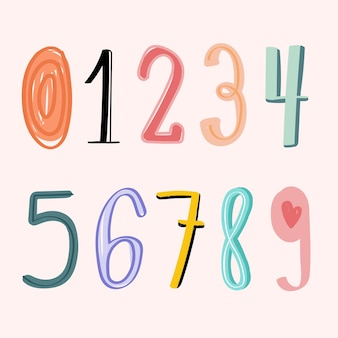 Numbers 0-9 hand drawn doodle style typography set vector