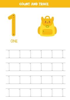 숫자와 문자 추적 연습. 1위를 쓰고 있습니다. 귀여운 카와이 배낭.