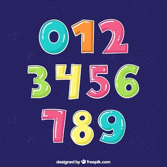 Numbers collection in cartoon style