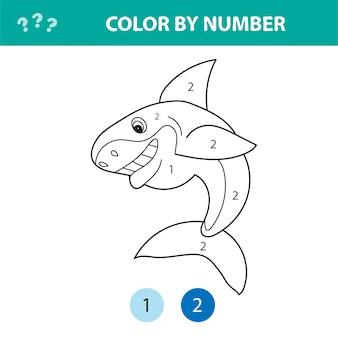 Раскраска числа. милая мультяшная акула. развивающая игра для дошкольников. раскраска по номерам
