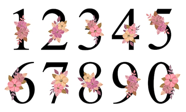 Numbers design with hand drawn pink flowers bouquet for decoration invitation card